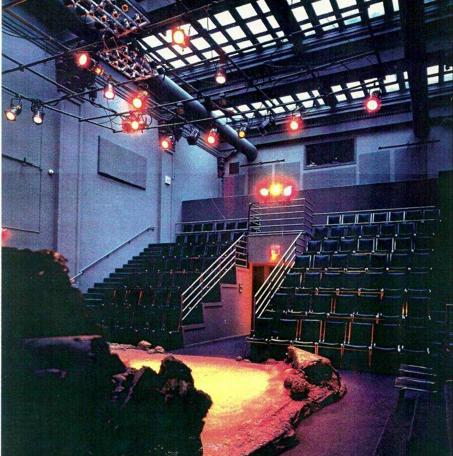 An empty theatre from the stage's perspective. The stage is lit for a performance.